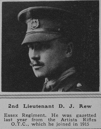 UK Photo Archive: R &emdash; Rew D J 2nd Lt Essex Regt The Sphere 17th Nov 1917