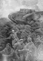 A British Armoured Tank Approaching A German Trench