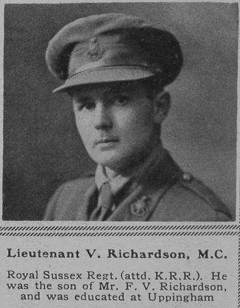 UK Photo Archive: R &emdash; Richardson V Lt MC R Sussex Regt attd KRRC The Sphere 4th Aug 1917