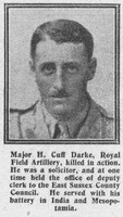 Darke H C Major Royal Field Artillery The Graphic 8th Aug 1916