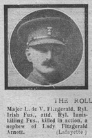 Fitzgerald L de V Major Royal Irish Fusiliers The Graphic 2nd Oct 1918