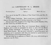 Breese W L 2nd Lt Royal Horse Guards Obit