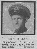 Armstrong F C Flt Comm DSC Royal Naval Air Service The Graphic 15th Oct 1918