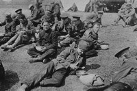 British Prisoners Eating A Meal In A Prisoner Of War Camp