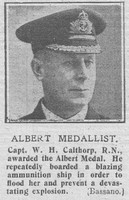 Calthorp W H Captain Albert Medal Royal Navy The Graphic 5th Nov 1918