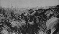 A British Soldier Firing A Lewis Machine Gun In Front Of Ovilliers