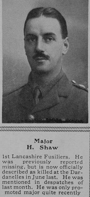 UK Photo Archive: S &emdash; Shaw H Major 1st Lancashire Fusiliers The Sphere 11th Dec 1915