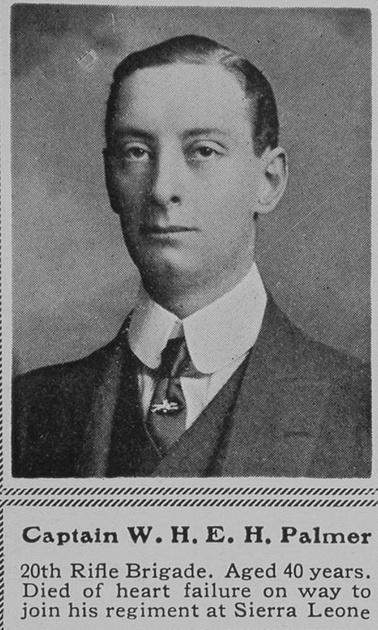 UK Photo Archive: P &emdash; Palmer W H E H Captain 20th Rifle Brigade The Sphere 22nd Jan 1916