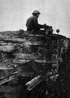 A New Zealand Signaller On A Just Captured German Dug-Out