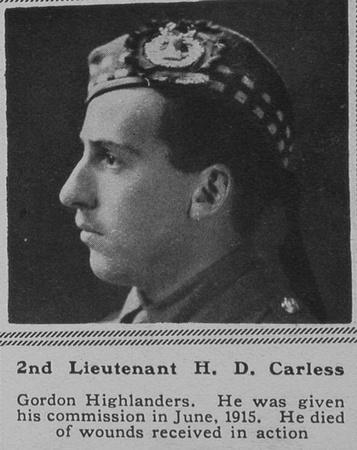UK Photo Archive: C &emdash; Carless H D 2nd Lt 3rd Gordon Highlanders The Sphere 7th July 1917