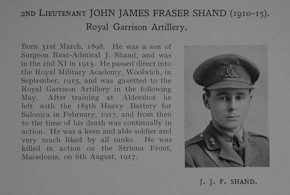 UK Photo Archive: Dulwich College War Record 1914-1919 &emdash; Shand J J F 2nd Lt Royal Garrison Artillery Obit Dulwich College Roll Of Honour
