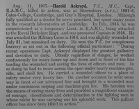 Ackroyd H Captain VC MC Royal Army Medical Corps Obit Shrewsbury School Roll Of Service