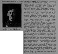O'Beirne J I M Lt 3rd Royal Warwickshire Regiment Attd Royal Flying Corps Obit De Ruvignys Roll Of Honour Vol 4