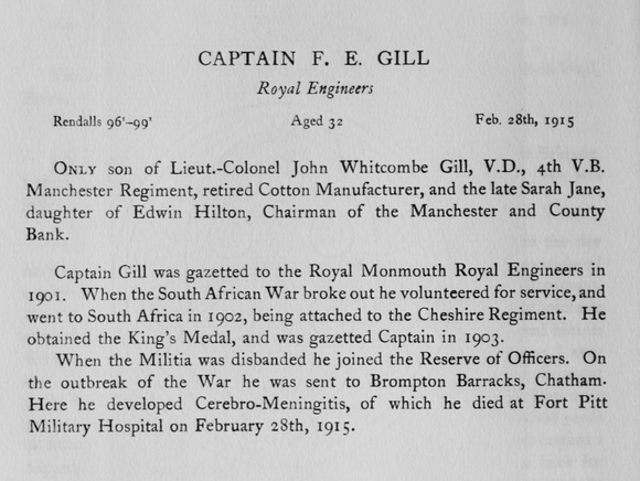 UK Photo Archive: Harrow Memorials Of The Great War Vol 1 1914-1918 Obituaries &emdash; Gill F E Captain Royal Engineers Obit