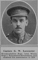 Lancaster G W Captain MC 3rd Monmouthshire Regt The Sphere 19th Oct 1918