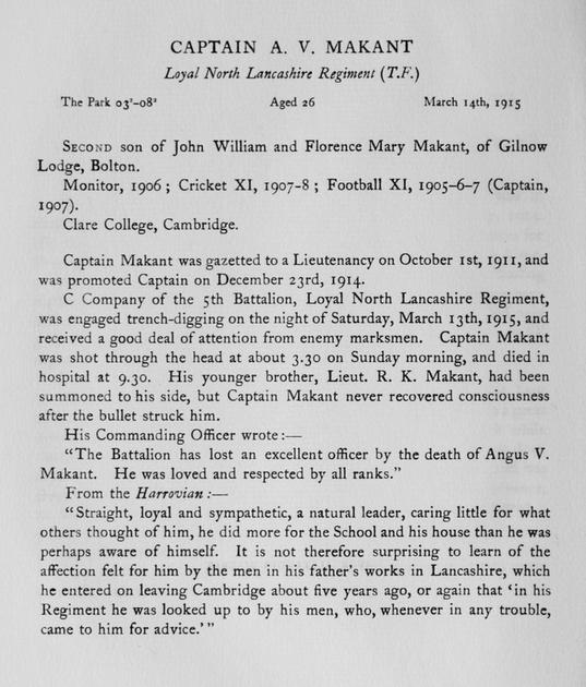 UK Photo Archive: Harrow Memorials Of The Great War Vol 1 1914-1918 Obituaries &emdash; Markant A V Captain Loyal North Lancs Regiment Obit