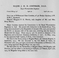 Costeker J H D Major DSO Royal Warwickshire Regiment Obit
