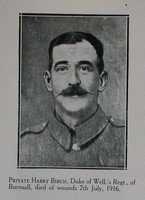 Birch H Pte 6th West Riding Regt Craven Roll Of Honour