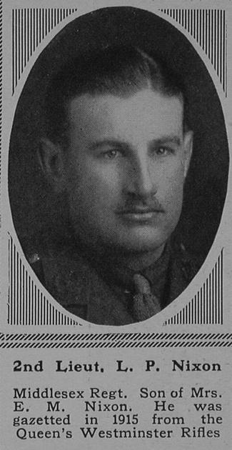 UK Photo Archive: N &emdash; Nixon L P 2nd Lt 23rd Middlesex Regiment The Sphere 25th Nov 1916