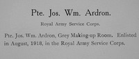 Ardron J W Pte Army Service Corps Record William Graham Company
