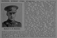 Ransom R C S 2nd Lt 7th Bedfordshire Regiment Obit De Ruvignys Roll Of Honour Vol 3