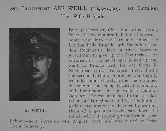 UK Photo Archive: Dulwich College War Record 1914-1919 &emdash; Weill A 2nd Lt 1st Rifle Brigade Obit Dulwich College Roll Of Honour