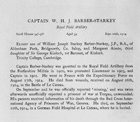 Barber-Starkey W H J Captain Royal Field Artillery Obit