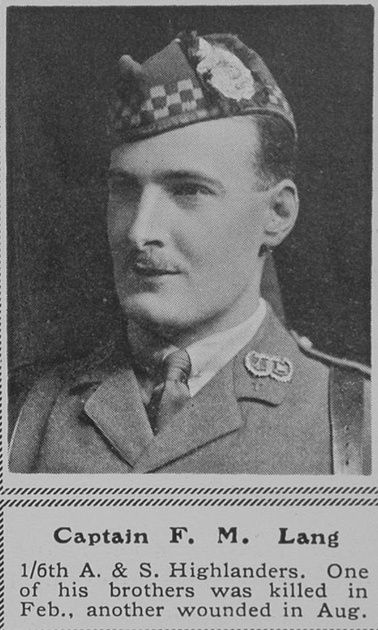 UK Photo Archive: L &emdash; Lang F M Captain 6th A & S Highlanders The Sphere 22nd Jan 1916