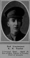 Taylor E S 2nd Lt 7th The King's (Liverpool Regiment) The Sphere 9th Dec 1916