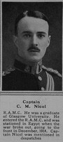 Nicol C M Captain Royal Army Medical Corps 30th Dec 1916