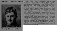 Macbey G M Lt MC 6th Seaforth Highlanders Obit De Ruvignys Roll Of Honour Vol 4