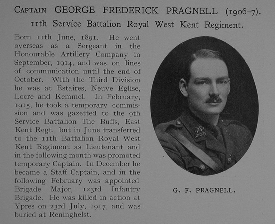 UK Photo Archive: Dulwich College War Record 1914-1919 &emdash; Pragnell G F Captain 11th Queens Own Royal West Kent Regiment Obit Dulwich College Roll Of Honour