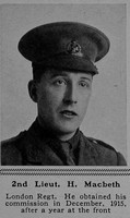 MacBeth H 2nd Lt 17th London Regiment The Sphere 27th Jan 1917