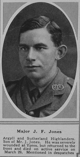 UK Photo Archive: J &emdash; Jones J F Major 7th A & S Highlanders Sphere 12th May 1917