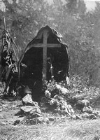 A Highlanders Grave In France With The Dead Mans Shell Torn Coat Upon The Cross