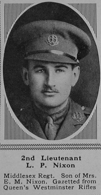 UK Photo Archive: N &emdash; Nixon L P 2nd Lt 23rd Middlesex Regiment The Sphere 18th Nov 1916