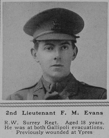UK Photo Archive: E &emdash; Evans F M 2nd Lt 3rd R West Surrey Regt The Sphere 27th May 1916