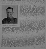 Lamb F E Coy Qtr Mst Sergt DCM 3rd Worcestershire Regiment Obit Part 1 De Ruvignys Roll Of Honour Vol 3