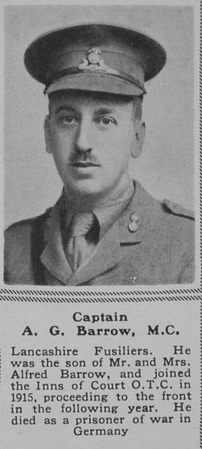 UK Photo Archive: B &emdash; Barrow A G Captain MC 10th Lancashire Fusiliers The Sphere 31st Aug 1918