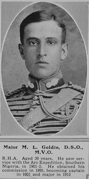 UK Photo Archive: G &emdash; Goldie M L Major DSO Royal Horse Artillery The Sphere 3rd Apr 1916