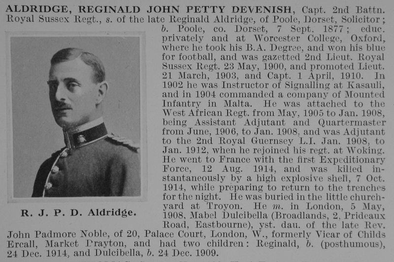 UK Photo Archive: A &emdash; Aldridge R J P D Captain 2nd Royal Sussex Regiment Obit