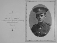 Allan M C Pte 3rd County Of London Yeomanry Sharpshooters William Graham Company