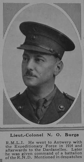 UK Photo Archive: B &emdash; Burge N O Lt Col Nelson Bn. R.N. Div. Royal Marine Light Infantry The Sphere 23rd Dec 1916
