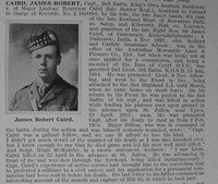 Caird J R Captain 2nd Kings Own Scottish Borderers Obituary De Ruvignys Roll Of Honour Vol 1