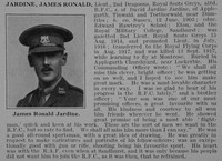 Jardine J R Lt 2nd Dragoons Attd RFC Obit De Ruvignys Roll Of Honour Vol 3