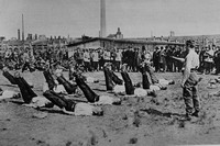 British Prisoners In Physical Training In A German Detention Camp