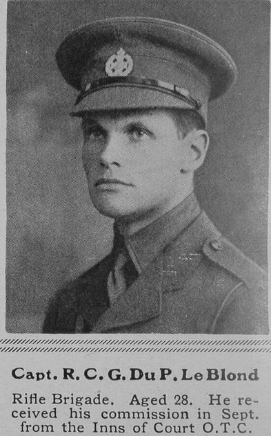 UK Photo Archive: L &emdash; Le Blond R C G Du P Captain Rifle Brigade The Sphere 19th Jun 1915