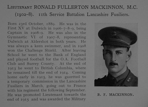 UK Photo Archive: Dulwich College War Record 1914-1919 &emdash; Fullerton-Mackinnon R Lt MC 11th Lancashire Fusiliers Attd 9th The Loyal North Lancashire Regiment Obit Part 1 Dulwich College Roll Of Honour