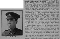 McClure A R LCpl 2618 20th London Regiment Obit Part 1 De Ruvgnys Roll Of Honour Vol 2