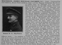 MacNeece J D G Captain MC RFA Obit De Ruvignys Roll Of Honour Vol 2